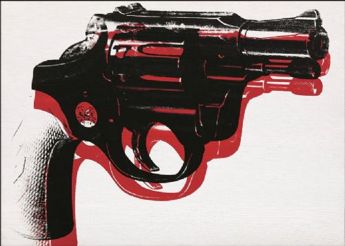ART - POP ART GUN REVERSE WHITE canvas print - self adhesive poster - photo print